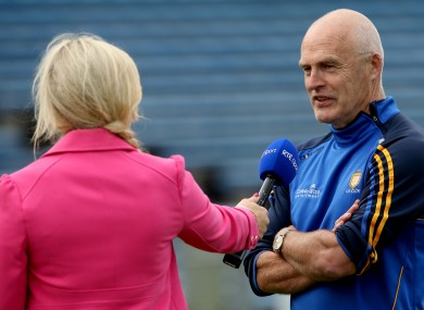 Anna Geary interviewing Clare camogie manager Colm Honan.