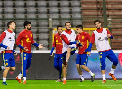 Spanish players training at the King Baudouin stadium in Brussels on Monday.