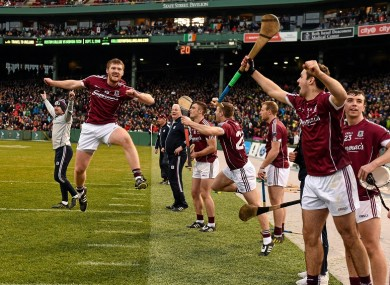 Galway's John Hanbury leads the celebrations at the final whistle.