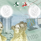 Mathematicians Charles Babbage and Ada Lovelace<span class=