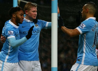 Raheem Sterling, Kevin De Bruyne and Sergio Aguero - cropped