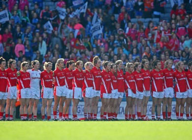 The Cork ladies football team sing the national anthem before winning their second five in-a-row in ten years.