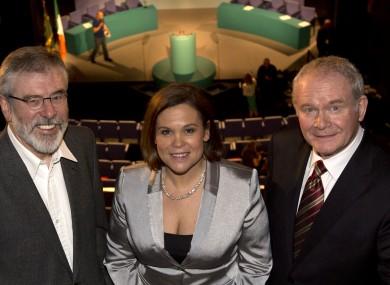 Gerry Adams, Mary Lou McDonald and Martin McGuinness of Sinn Féin.