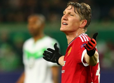 Bastian Schweinsteiger in action against Wolfsburg.