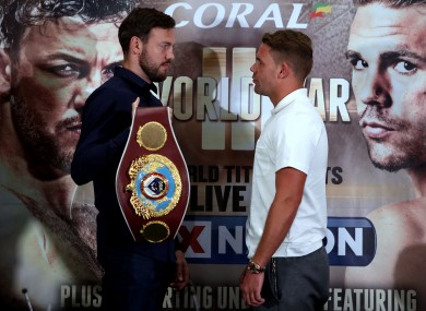Lee (left) defends his WBO title against Saunders in Manchester