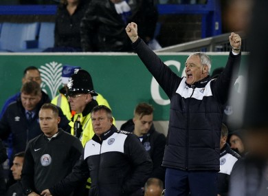 Leicester City manager Claudio Ranieri celebrates his team's victory over Everton.
