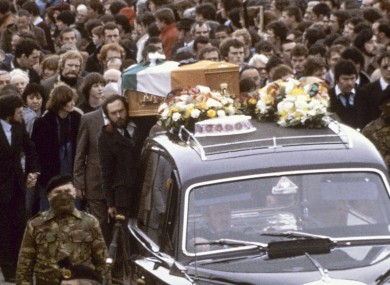 Bobby Sands' funeral in May 1981, four years before the meeting in question.