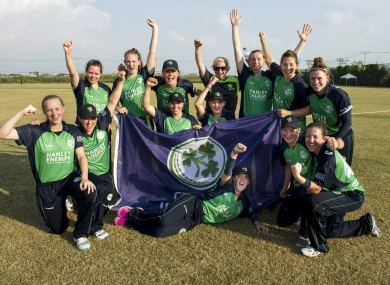 Ireland celebrate their win over Scotland today.