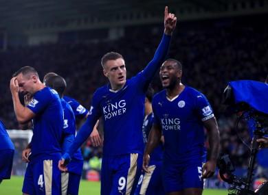Leicester City's Jamie Vardy celebrates scoring.
