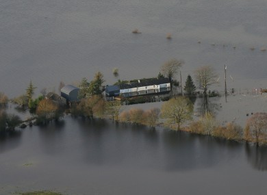 Flooded fields and roads near Athlone, Co Westmeath during the week.