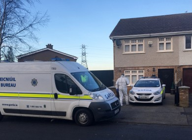 Gardaí search the house of Kenneth O'Brien on Lealand Road, Clondalkin.