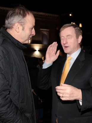 Micheál Martin and Enda Kenny at Leinster House before Christmas