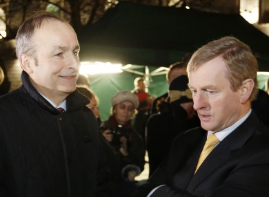Martin and Kenny at the Oireachtas Christmas tree lighting ceremony in December.