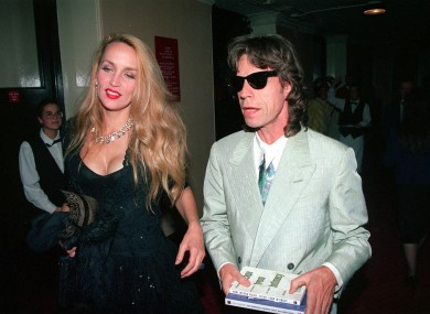 Jerry Hall and Mick Jagger in 1992