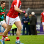 Lee Keegan plays on after clashing with Eoin Cadogan (no. 3) who was subbed immediately.<span class=