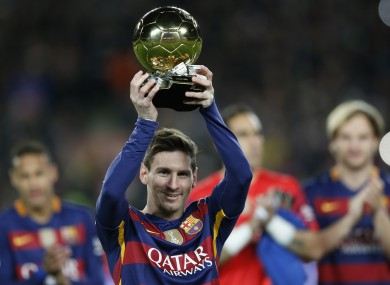 Messi was showing off his fifth Ballon d'Or before Barcelona's win on Sunday.