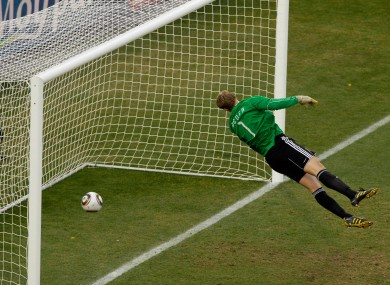 Germany's Manuel Neuer beaten by Frank Lampard's strike in 2010. The goal was disallowed.