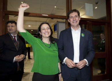 Eamon Ryan celebrating with Catherine Martin yesterday. The leader and deputy leader of the Greens are now in the 32nd Dail.