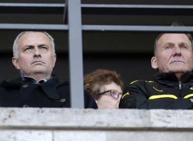 Jose Mourinho pictured at tonight's game.