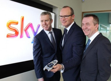 Sky Ireland Managing Director JD Buckley (left) with Minister Simon Coveney and Michael Fitzgerald, Abtran CEO, at today's launch