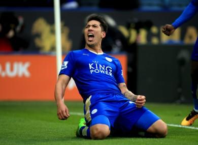 Leicester City's Leonardo Ulloa celebrates scoring his side's first goal of the game.