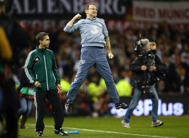 Martin O'Neill celebrates Ireland's qualification.