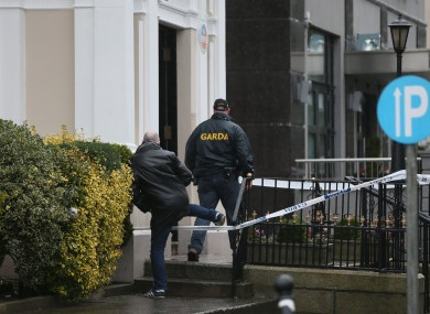 Gardaí outside the Regency Hotel yesterday.
