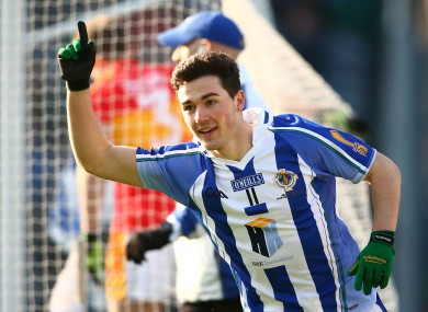 Colm Basquel celebrates scoring Ballyboden's first goal.
