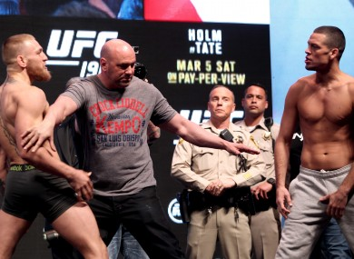 McGregor and Diaz squared up again at Friday's weigh-in in the MGM Grand Garden Arena.