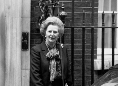 Margaret Thatcher leaves 10 Downing Street during the Falklands crisis.