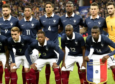 France team before the game with Germany in November at Stade de France.