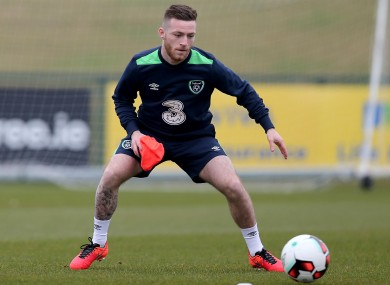 Byrne in the middle of a training drill this afternoon.