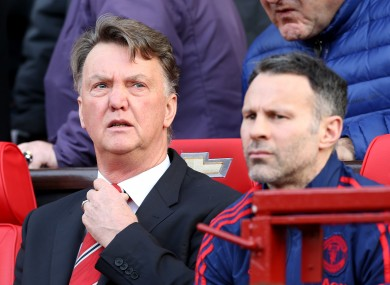 Manchester United manager Louis van Gaal on the bench with assistant Ryan Giggs (right).