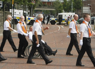 File photo of Orange Men marching in Belfast for 12 July last year