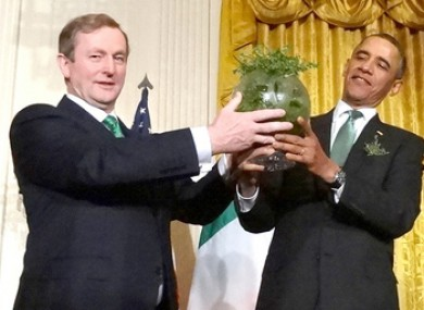 Enda Kenny presents Barack Obama with a bowl of shamrock on a previous visit to the White House