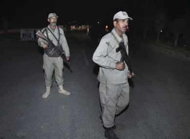 File photo: Pakistani paramilitary soldiers stand guard at a cordoned road in Lahore.