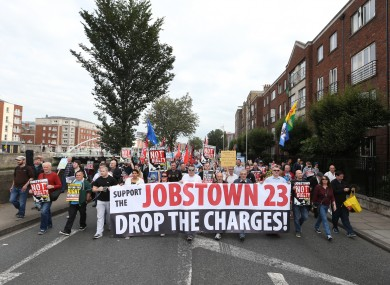 Protesters demand the dropping of charges against all the Jobstown accused.