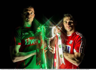 Mayo captain Stephen Coen and Cork captain Stephen Cronin met today ahead of Saturday's EirGrid All-Ireland U21 football final.