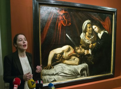 Julie Ducher, French expert specialising in Old Masters paintings, talks to the media in Paris
