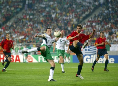 Breen and Spain's Ivan Helguera during Ireland's World Cup 2002 second round defeat.