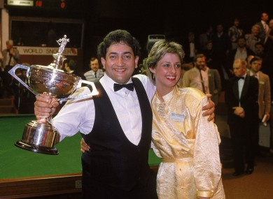 The 1986 world snooker champion Joe Johnson with his trophy.