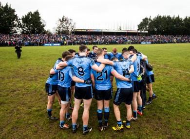 The Dublin huddle at Pairc Sean Mac Diarmada.