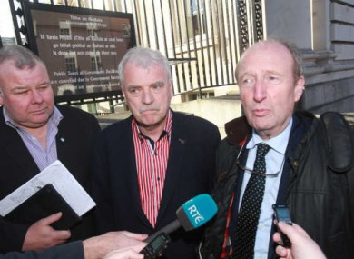 Michael Fitzmaurice, Finian McGrath, and Shane Ross of the Independent Alliance leaving Government Building after talks with Fine Gael yesterday.