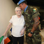 Trooper Keith Malone greets his mam Adeline Lynch from Coolock.<span class=