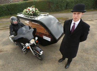 The Harley-Davidson hearse introduced by Massey Bros. last year for motorbike lovers.