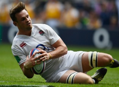 Jack Clifford scores his first England try against Wales.