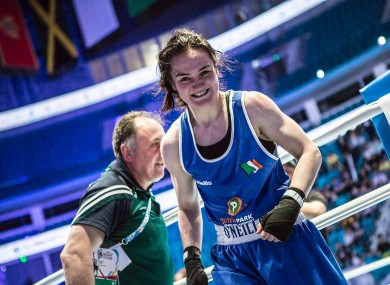 Harrington: fights for gold at her first world championships.