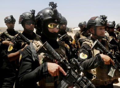 Iraq's elite counter-terrorism forces gather ahead of an operation to re-take the Islamic State-held City of Fallujah.