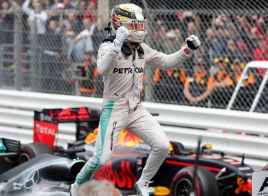 Lewis Hamilton celebrates his victory in today's Monaco Grand Prix.