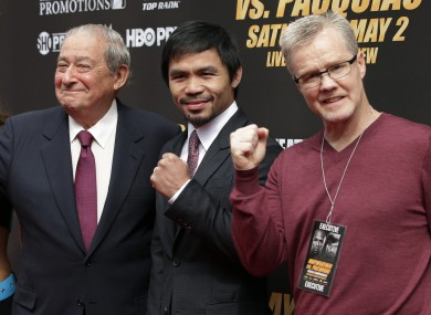 Bob Arum (left) with Manny Pacquiao and coach Freddie Roach.